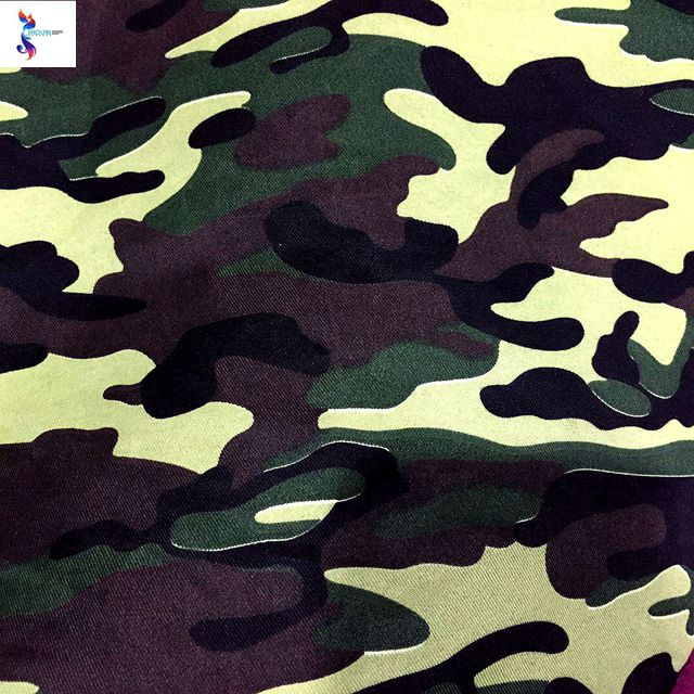 shaoxing textile supplier polyester cotton spandex camouflage fabric stock lot for garment
