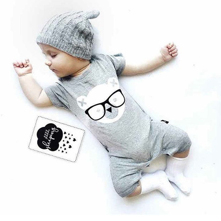2017 Children's wear new summer all cotton children short-sleeved flat conjoined baby clothes