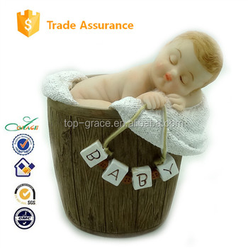 2015 baby shower new arrival resin sleeping new born baby doll