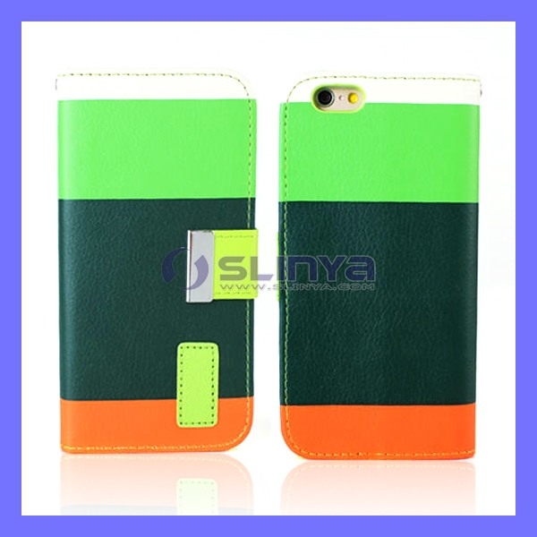 Wallet PU Leather Credit Card Mosaic 3 color Case For iPhone