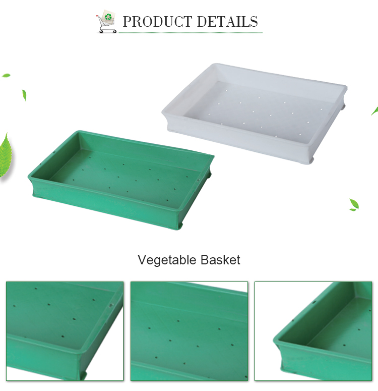 Supermarket plastic fruit and vegetable wash baskets with hole
