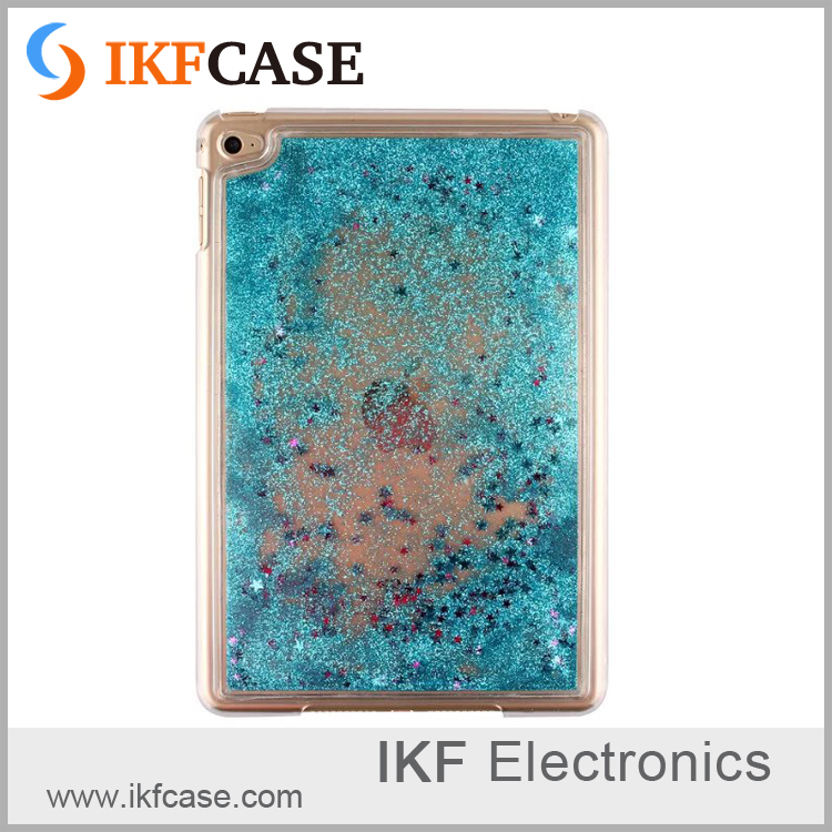 Fashionable custom design transparent bling plastic case for iPad Mini 4,flowing liquid glitter quicksand hard case for iPad