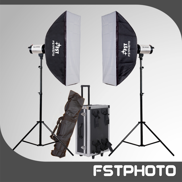 Photographic equipment- 600w studio flash lighting kit for family photo shooting