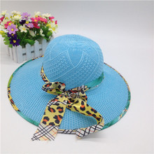 Wholesale floppy ladies dress hats promotion wide brim Polyester straw hat with beautiful ribbon