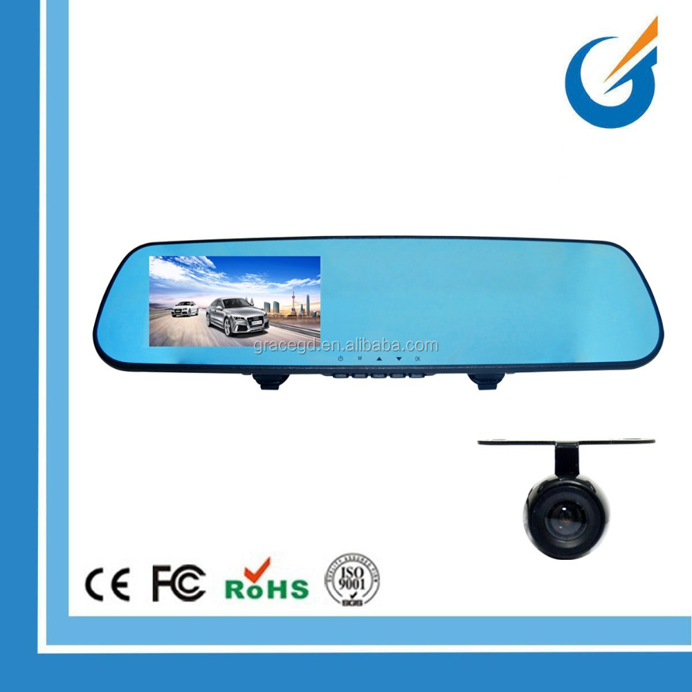 Dual camera Car DVR Video Recorder 4.3 inch TFT LCD Mirror Monitor