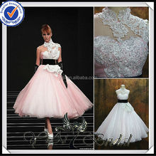 RSW478 Puffy Skirt Tea Length Pink And White Wedding Dresses