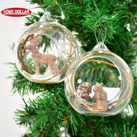 Wholesale plastic cheap Christmas clear glass ball with xmas tree decoration