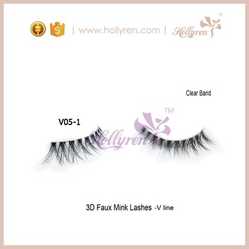 Hollyren Natural Hair Super soft Clear band Strip Eyelashes V05-1