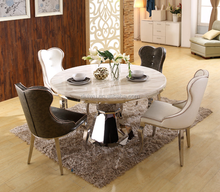 Marble round dining table set marble top with lazy susan dining tables and chairs