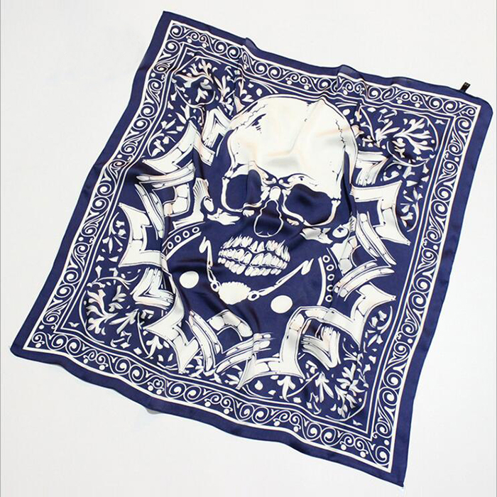 Fashion Square Spring And Autumn Skull Imitated Silk Lady Scarf Wholesale