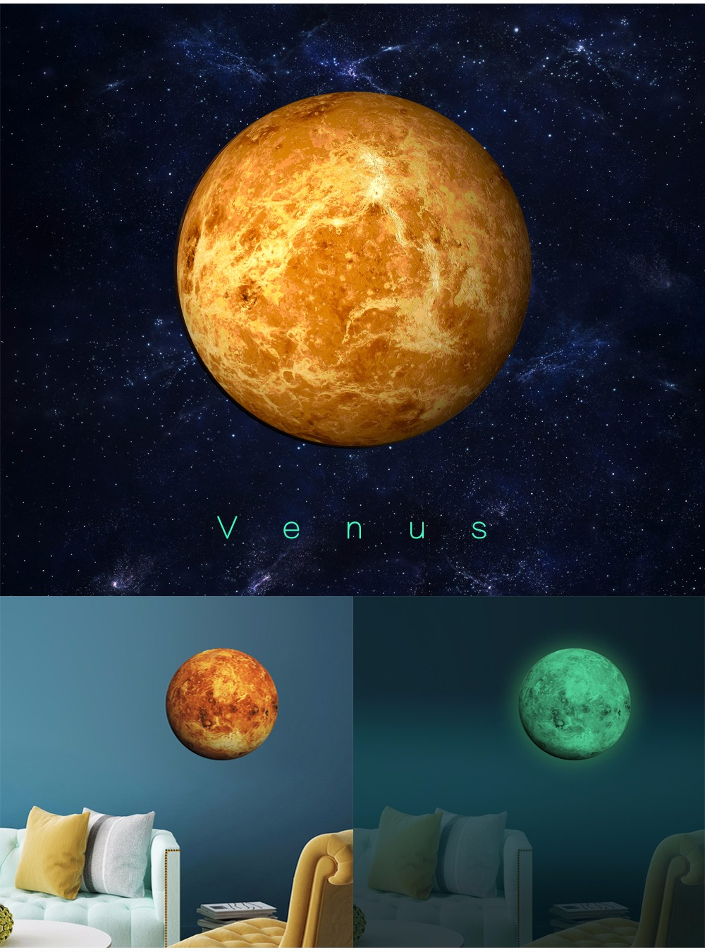 EN71-3 Waterproof The Planets Sun Glow in the Dark Sticker Paper