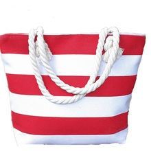 2017 Fashion Red Women Ladies Custom Canvas Tote Stripe Beach Bag With Rope Handle