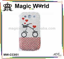 special original 2014 rhinestone bycicle design phone case for galaxy s4