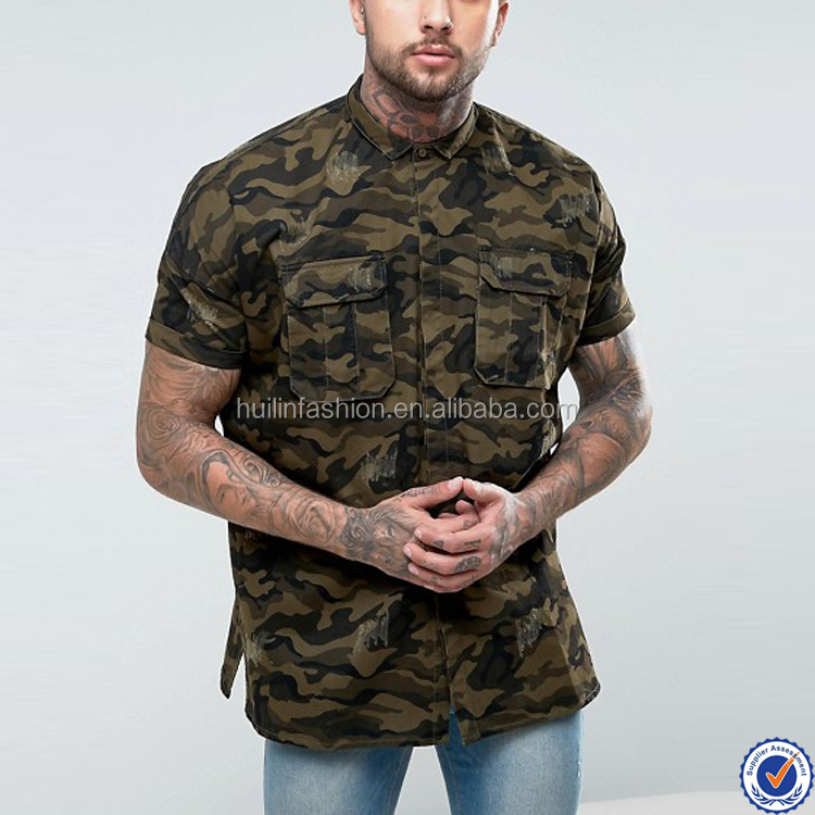 latest shirts for men pictures 100% cotton oversized camo shirt with distressing