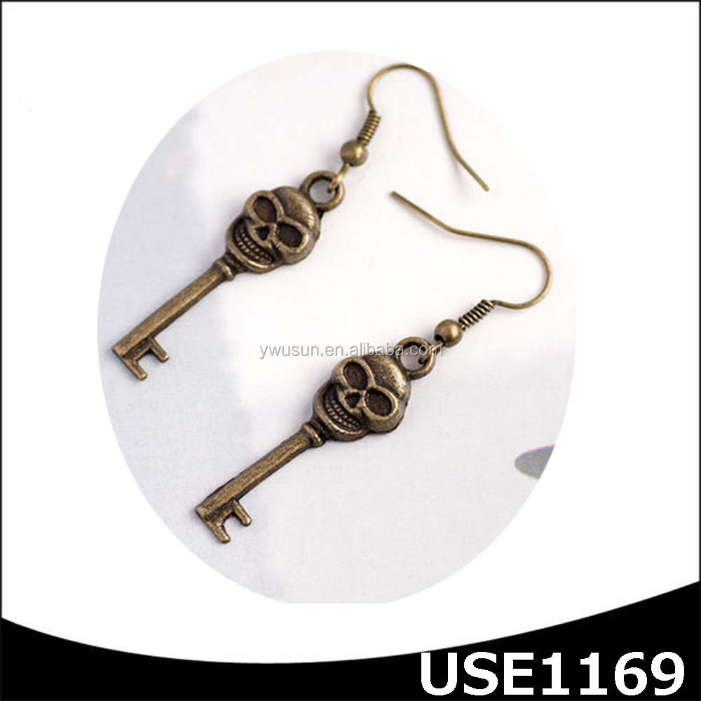 jewelry suppliers free sample antique bronze fashion women skull pendant earring