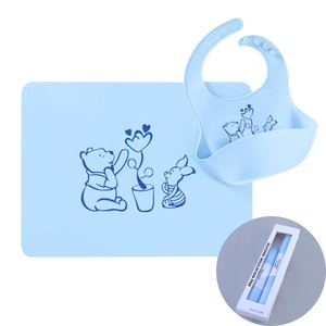Comfortable Adjustable Soft Portable and Keep Stains Off Waterproof Silicone Baby Bib With Placemat