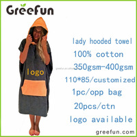 100% cotton fabric with customer logo beach hooded surf towel ponchos pattern for adult