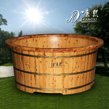Chinese Cedar solid wood portable 2 person outdoor spa bathtub