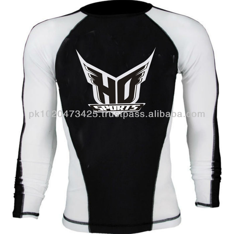 Men's Long Sleeve black & white UPF 50 Rash guard