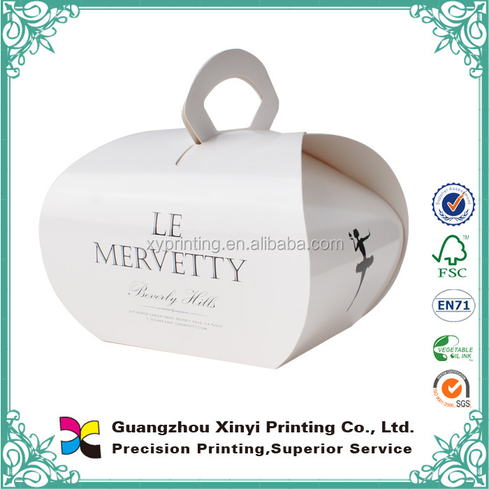 China online selling white foldable matt lamination custom printed cake packaging paper boxes with handle wholesale