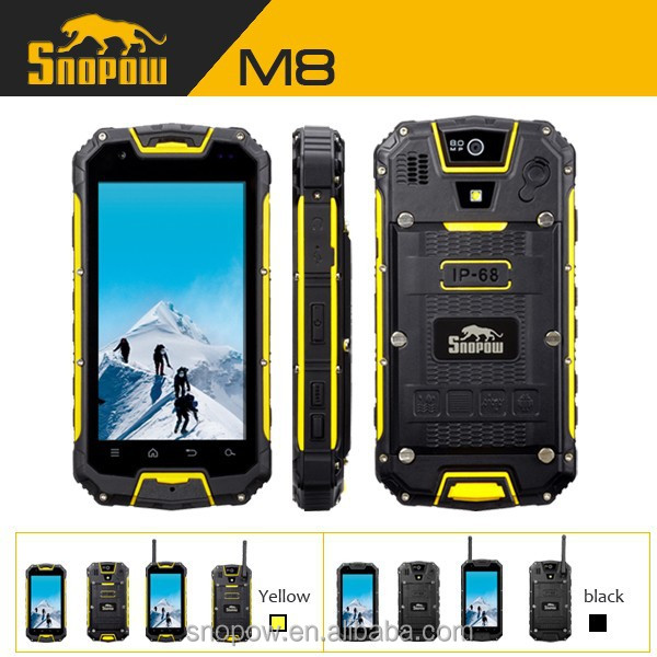 SNOPOW M8 IP68 waterproof 4.5 inch walkie talkie 5 KM android 4.4 NFC quad core hummer h1 android smart phone