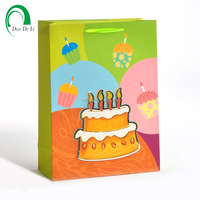 Custom printed Birthday gifts paper shopping bag with ribbon handles