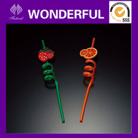 Colored plastic decorative drinking straws with fruit