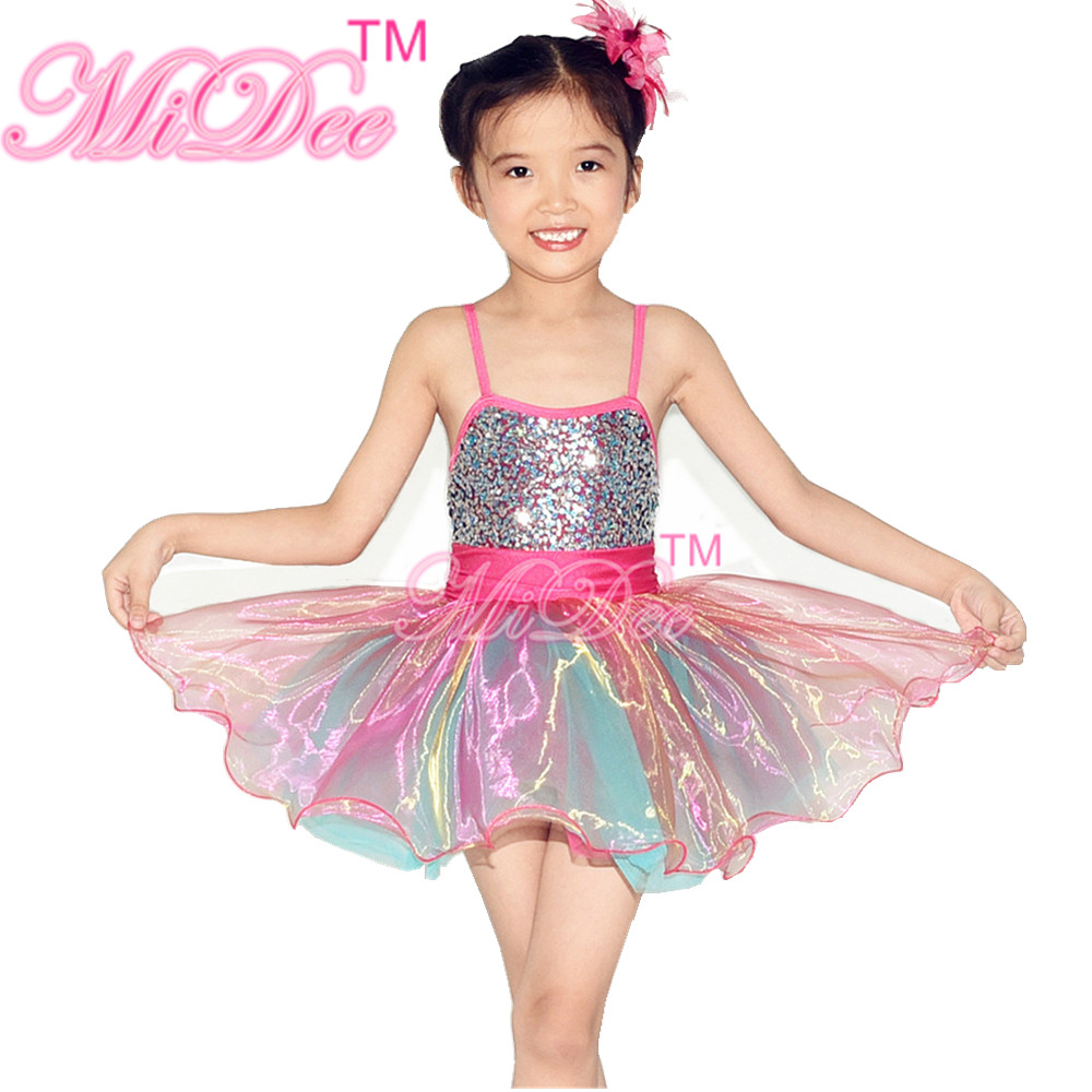 Rainbow Glitter Confetti Ballet Dance Costumes Party Dress Children Dance Costumes