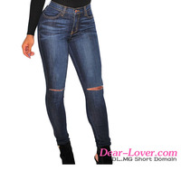 Wholesale 2016 Customized Dark Denim Ripped Knee hot sex women jeans pent