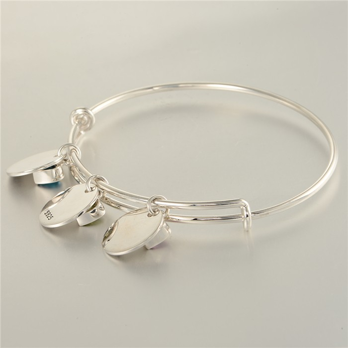 Fashion Jewelry Silver Bangle Lucky Love Happy Charm Bangle