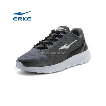 ERKE popular mens brand black running shoes with PU for wholesale