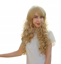 "60cm 24"" Long curly light blonde ladies daily hair wig,high quality synthetic party hair wigs with bangs"