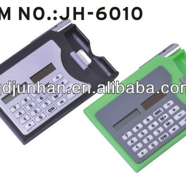 8 digits promotional solar calculator with business card holder