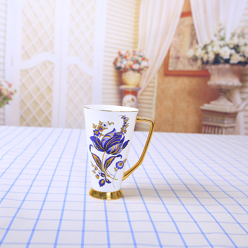 Wholesale Orchid Gold Rim Fine Bone China Mug Porcelain Coffee Cup With Gift Box Packing