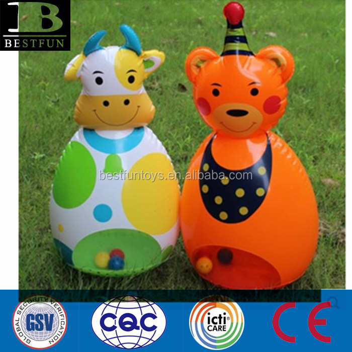 eco-friendly plastic inflatable tumbler PVC blow up animal shape dummy safety funny baby toys
