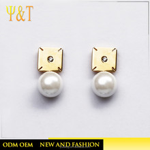 Jingli Jewelry Latest Design Girls Top Imitation Pearl Gold Stainless Steel Ear Studs(YJ-0271)