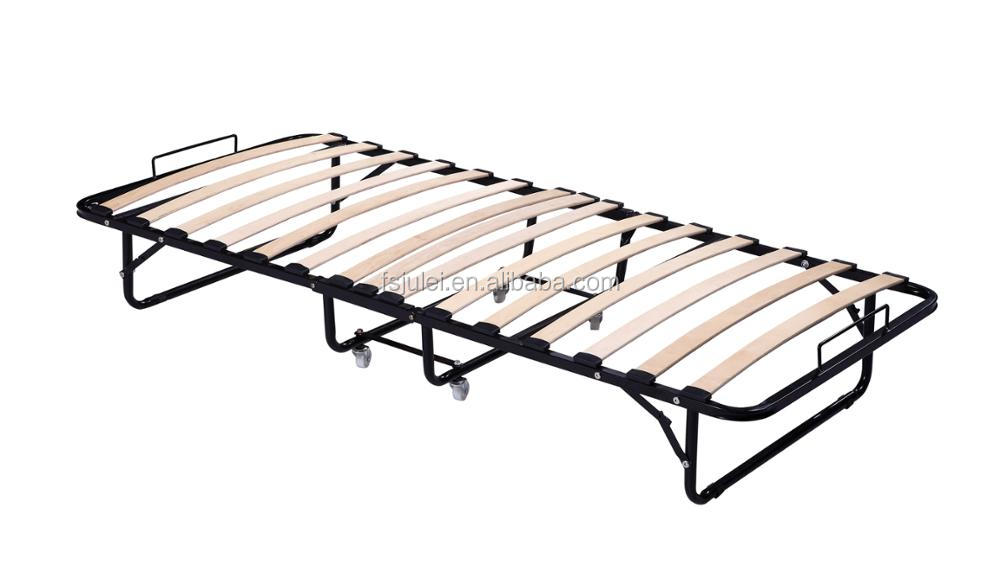space saving folding sleeping cot metal slats movable folding bed frame DJ-PQ14