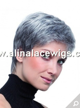 Natural Cropped Grey Synthetic Hair Lace Front Wig