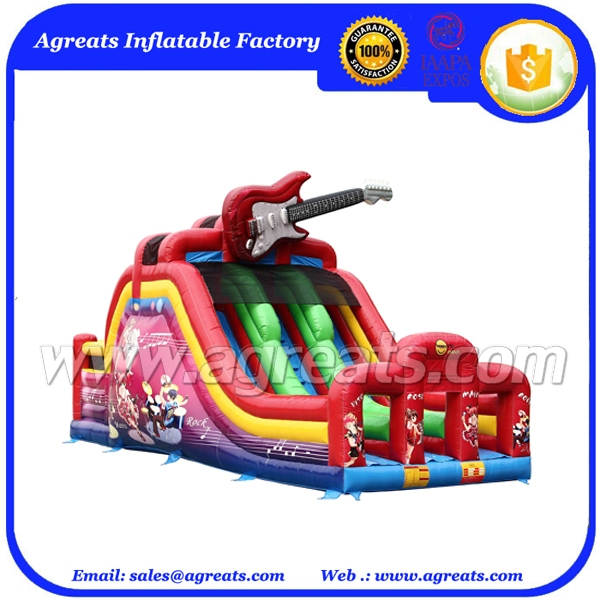 PVC red inflatable slide music theme with guitar,inflatable double lane dry slide G4067