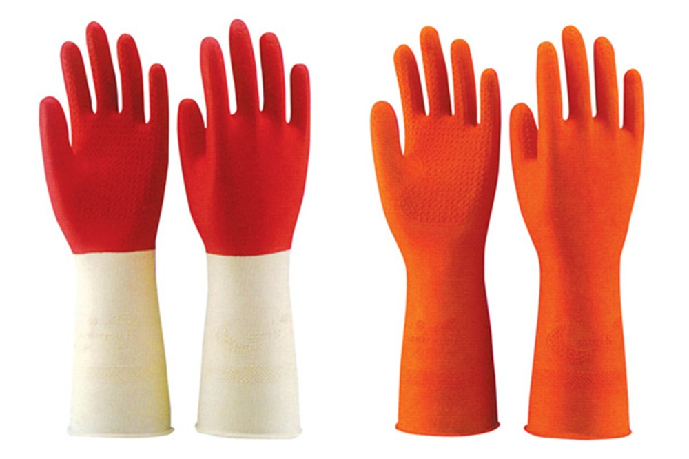 flocklined household rubber gloves yellow long latex household gloves