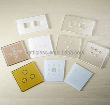 wholesale tempered glass socket panel ,Custom white crystal glass touch panel dimmer light switch