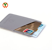 Custom print logo pu leather 3M adhesive cell <strong>phone</strong> card holder