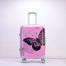 Printed butterfly Custom Trolley Travel Hard Shell ABS Luggage