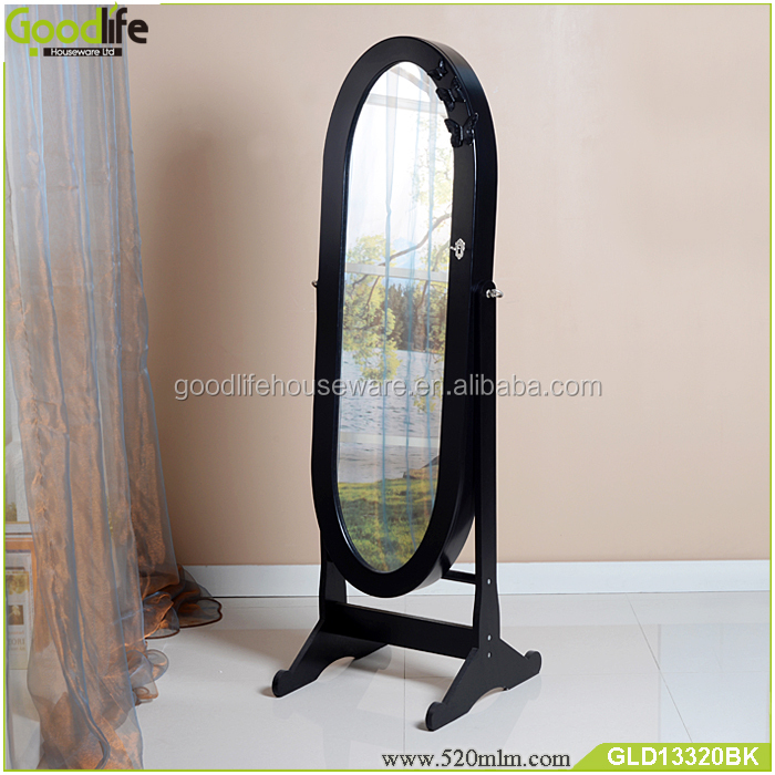 Home furniture brown finished oval mirror jewelry cabinet standing