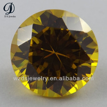 cheap price Round shape synthetic cubic zircon yellow gems wholesale