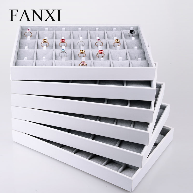 FANXI China Supplier Stackable Wedding Ring Necklace Earring Holder Showcase White PU Leather Jewelry Tray