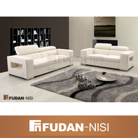 Cheap white leather sectional sofa with reclining headrest