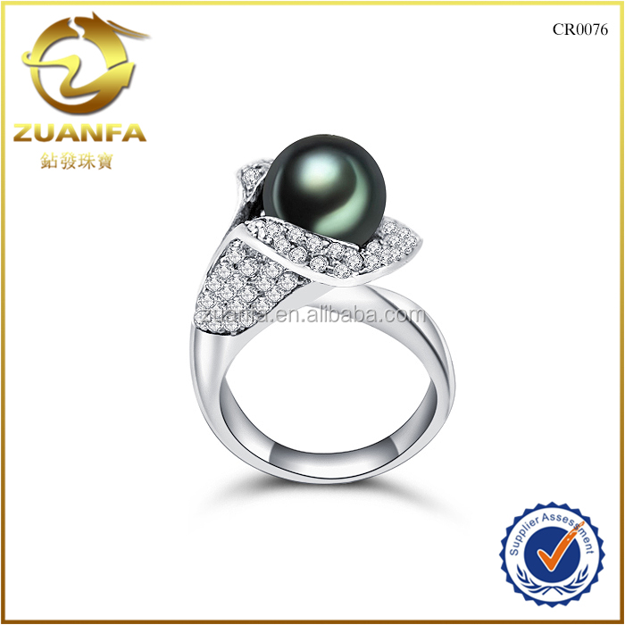 wholesale duangguan factory 925 sterling silver engagement black pearl finger rings