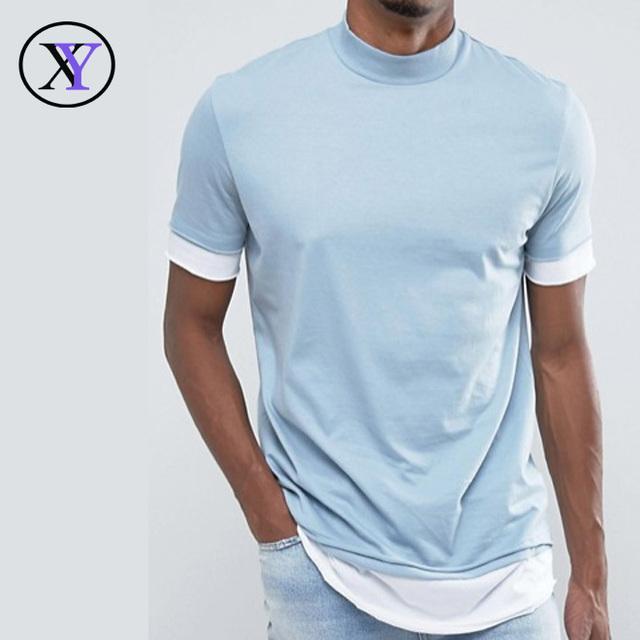 Hot Cheap Fashion Men Two Color Blank T Shirt