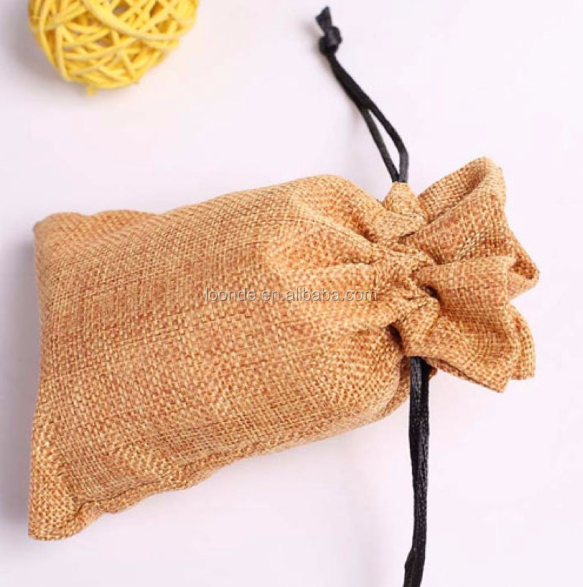 Personalized brown hessian burlap wedding welcome goodie bags